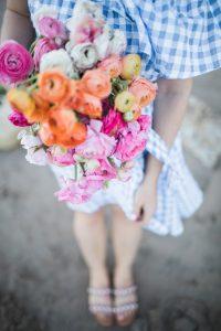 Monika Hibbs holding flowers