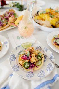 grapefruit lime refreshers and crispy cauliflower tostadas