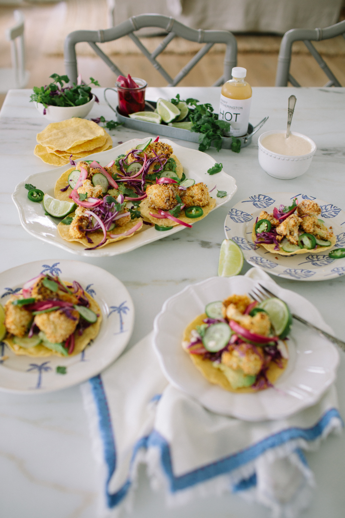 crispy cauliflower tostadas and the ingredients