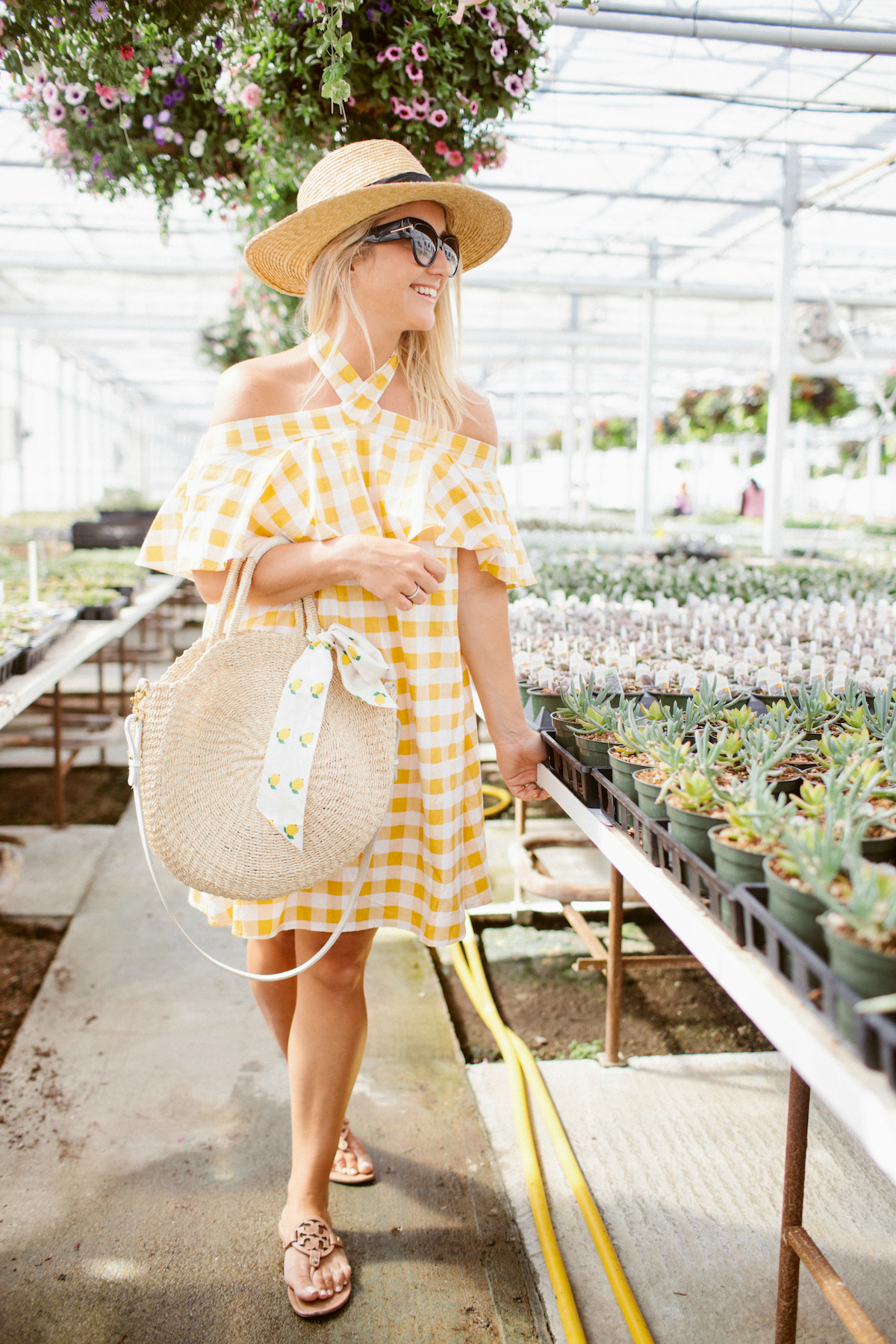 Yellow gingham summer dress