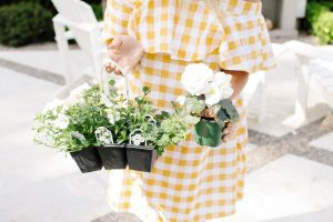 Yellow gingham summer dress