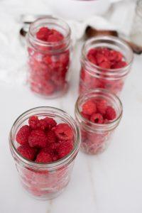 raspberries in jars