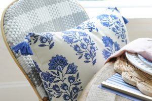 blue white patio pillow