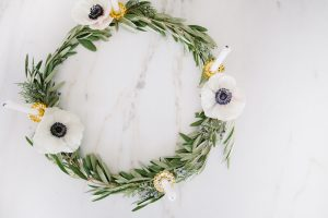 olive branch wreath with candles