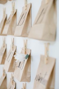 close up of advent bags on wall