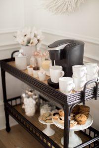 black bar cart coffee beverage station set up