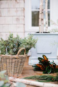 juniper in wicker basket, magnolia front porch