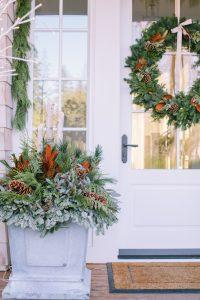 Front door with winter planter