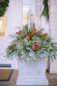 winter font porch planter box