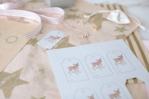 deer tag printables with necklace and ribbon