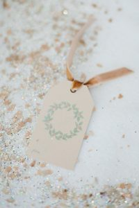 wreath tag with velvet ribbon