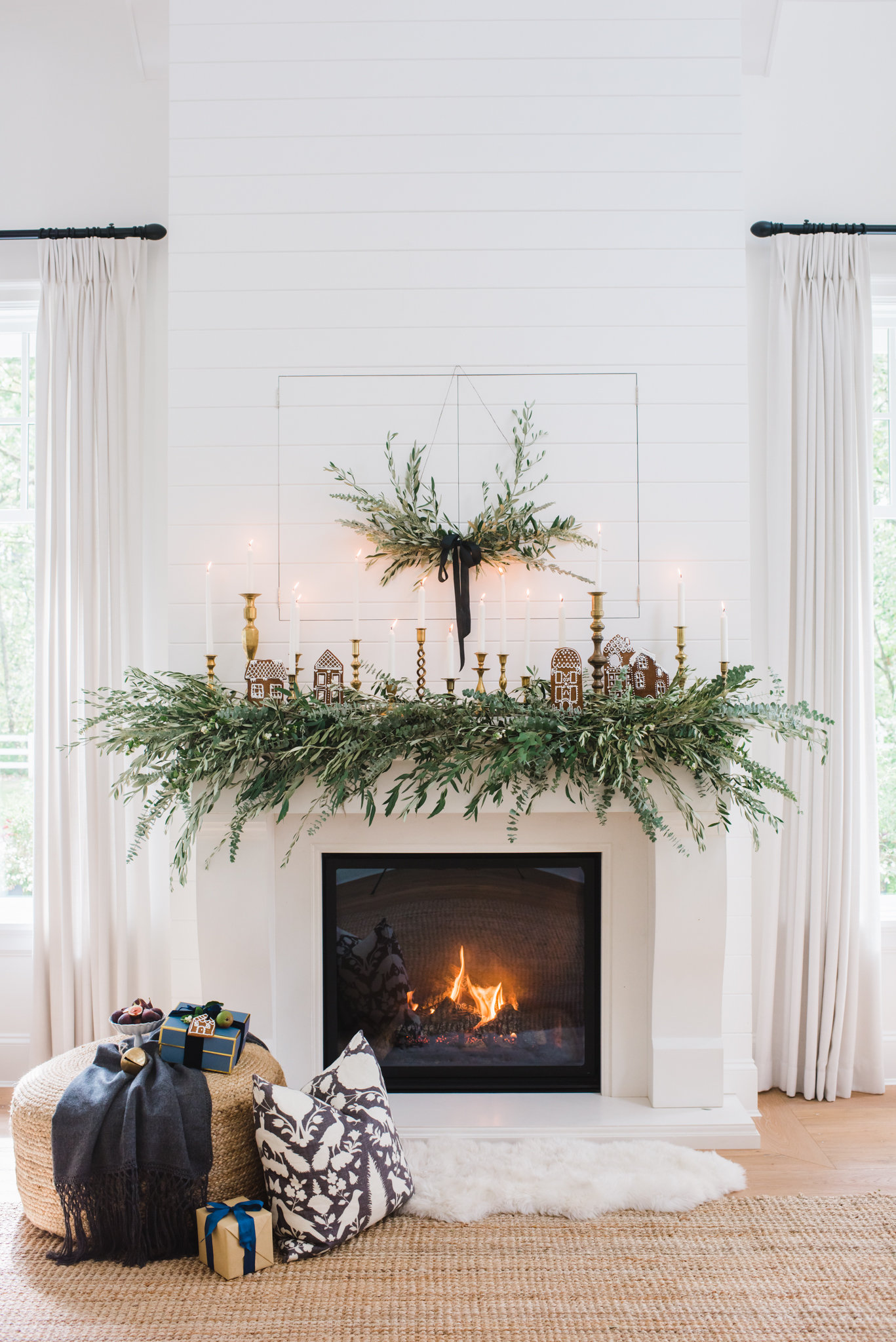 Fireplace with olive branch garland