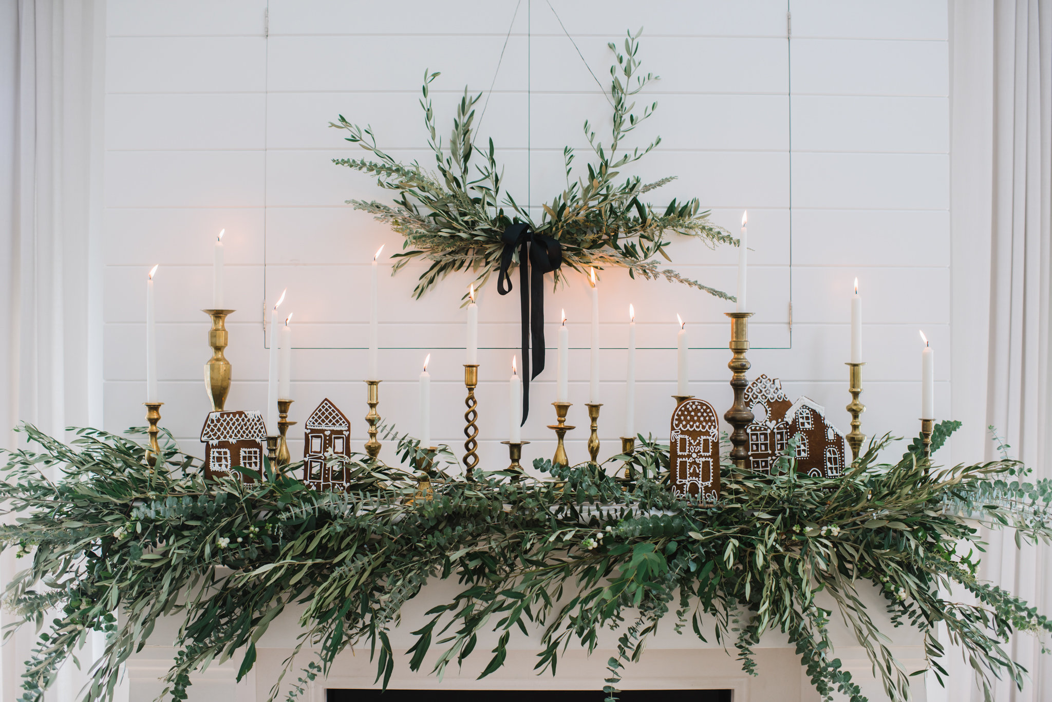 Olive garland on fireplace