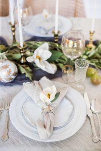 christmas table setting with grey napkin