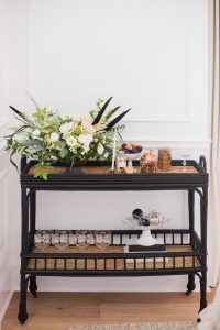 black bar cart with christmas decor