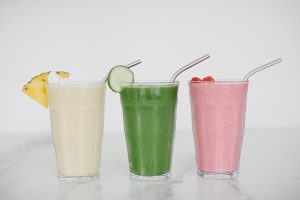 front shot of three different smoothies