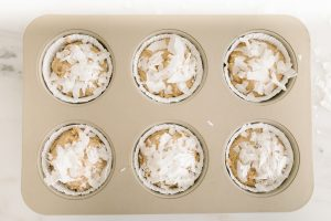 over head of muffins in tin