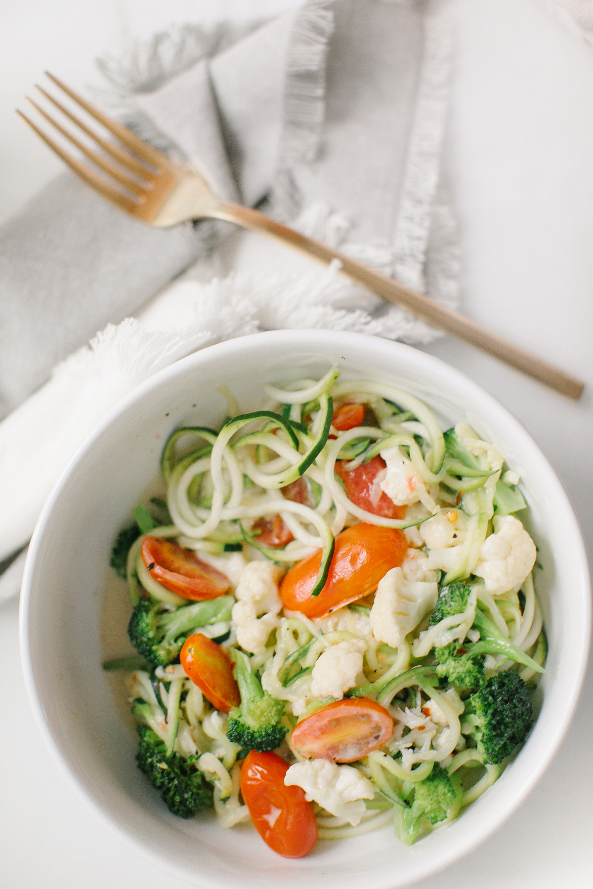 Quick Coconut Cream Zucchini Noodle Pasta