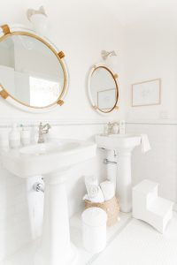 dual pedestal sink coastal bathroom