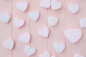 pink board with colourful heart marshmallows
