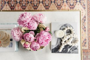 over head peonies on table