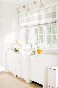 bright white kitchen window sink
