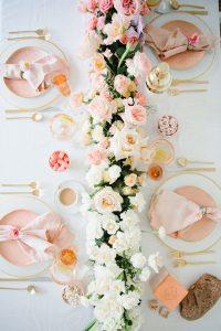 Overhead ombre pink floral arrangement