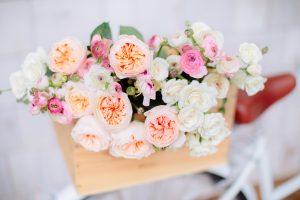 flowers in bike basket