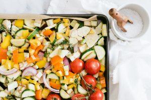 cut up vegetables for lasagna