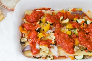 roasted vegetables on lasagna