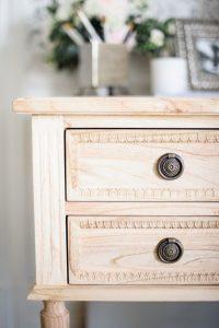light wooden desk details
