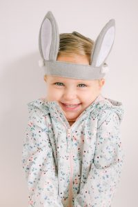 little girl with felt bunny ears