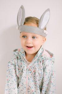 little girl with felt bunny ears