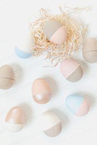 colour blocked paper mâché eggs