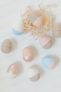 colour blocked painted paper mâché easter eggs