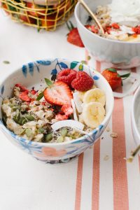 floral bowl with pretty oats