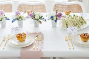 pretty gold and white mothers day place setting