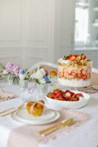 strawberry truffle on pretty spring table