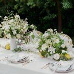 pretty white floral centrepiece
