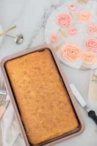sheet cake in rose gold pan