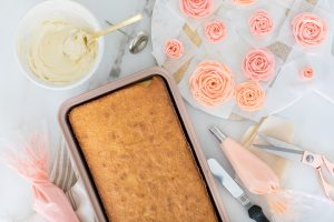 ingredients for buttercream rose sheet cake