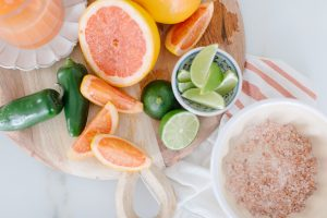 ingredients for spicy pink grapefruit margarita