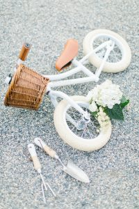 little girls white bike and basket