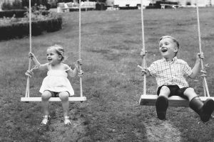 kids on swing set