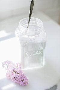 sugar jar with lilacs