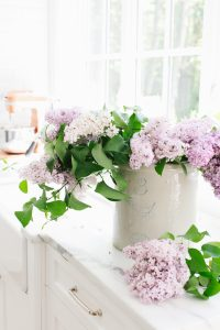 lilacs in crock on kitchen counter