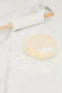 scone dough on marble