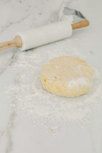 scone dough being rolled out