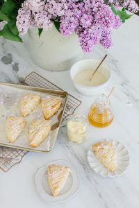scones on kitchen counter and plates