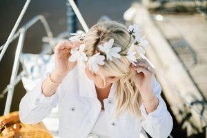 white jean jacket, daisy flower crown